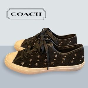 """COACH Black """"Empire Star"""" Studded Lace Sneakers 7"""